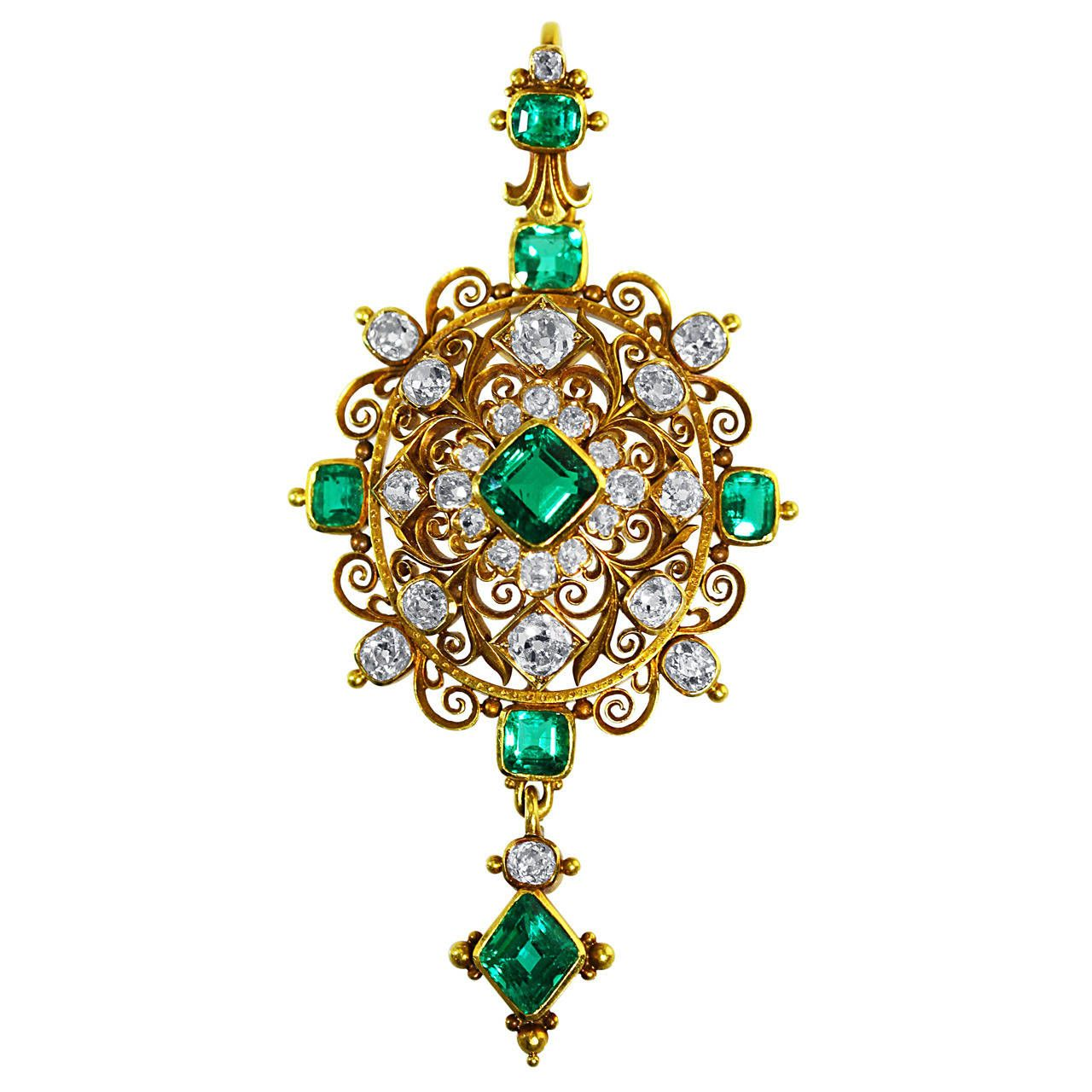 Exceptional victorian emerald diamond gold pendant emeralds and