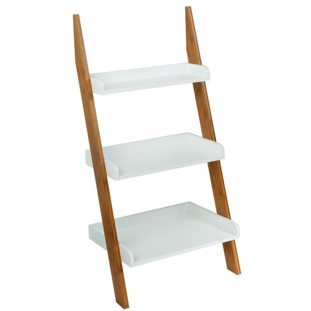 buy collection 3 tier bamboo ladder shelf unit two tone at argosco