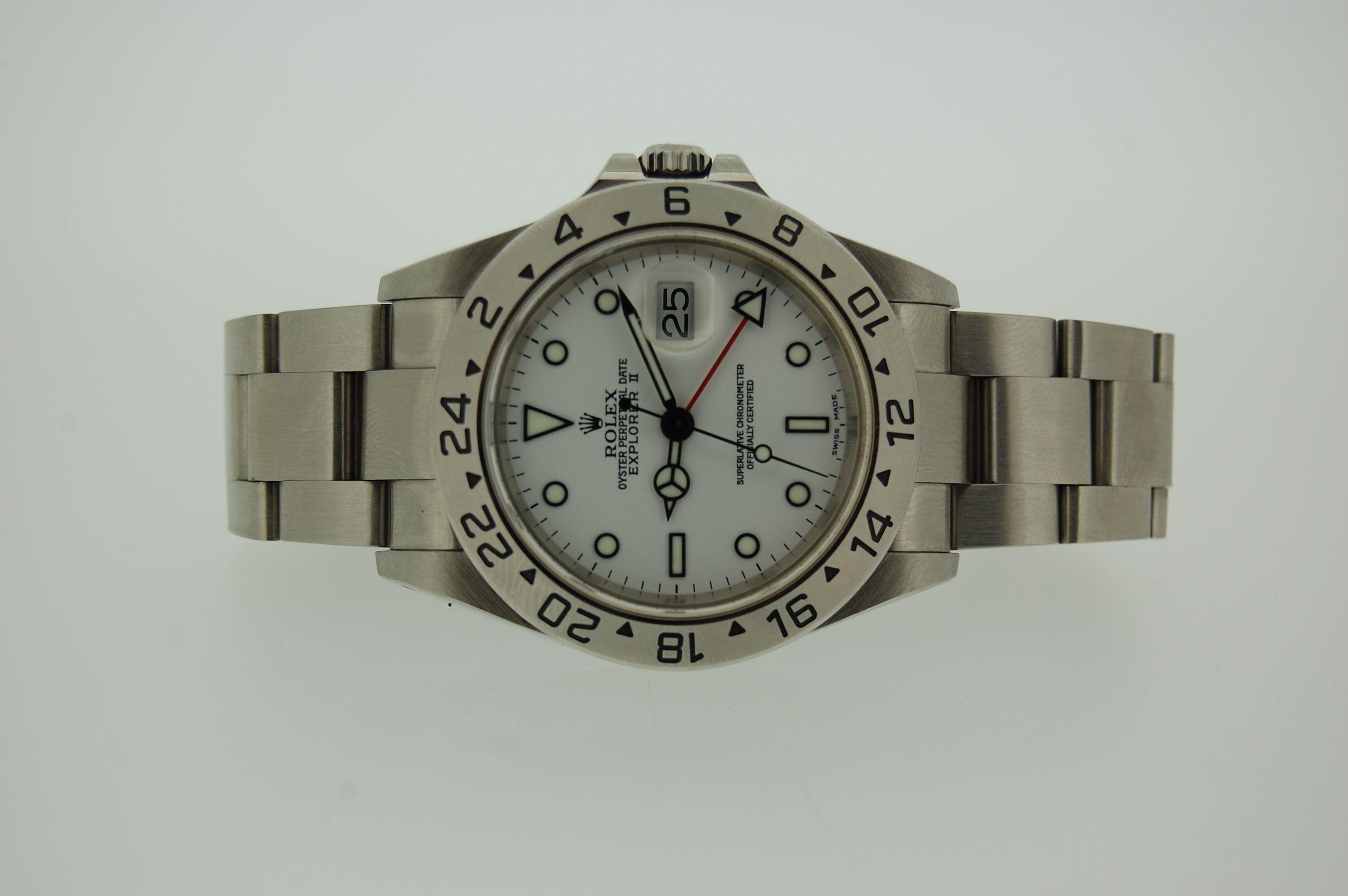 Marca : Rolex Modelo : Explorer ll Referencia : 16570 Movimiento : Automatico Material : Acero Tamano : 40 mm Ano : 2001