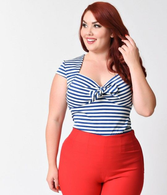With its polished plus size 1950s Pin-up silhouette and divine navy and white…
