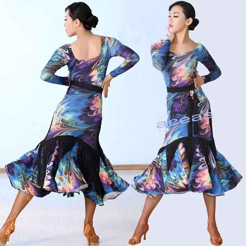 Womens Dancewear Performance Floral Latin Rumba Cha-cha Samba Paso Doble Dress