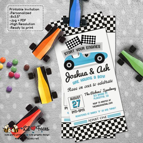 Vintage Blue Racing Car Baby Shower Ticket invitations red race car