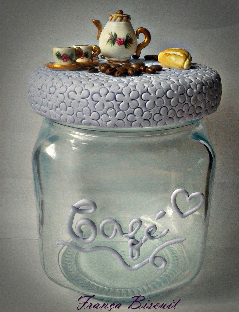 Pote De Vidro Personalizado Em Biscuit De Caf A Car Pode  ~ Potes Decorativos Para Cozinha