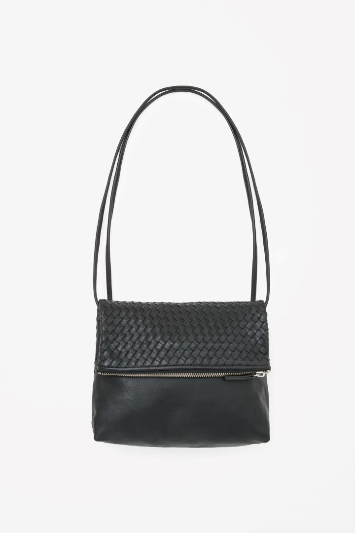 45c611e852 COS image 3 of Braided leather bag in Black