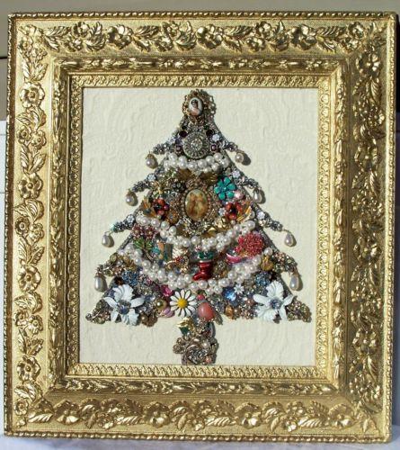 Vintage Jewelry Framed Christmas Tree – Handmade and Fabulous Vintage Christmas | eBay $265