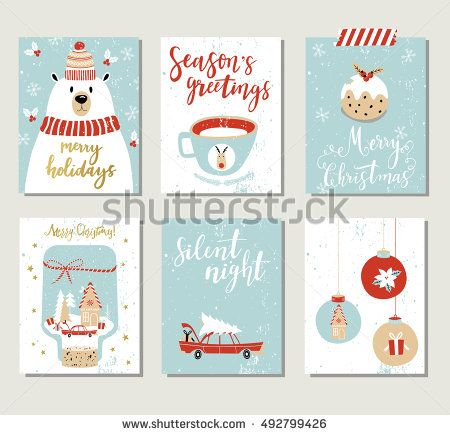 Set of creative 6 journaling cards Christmas Posters set Vector - greeting card template