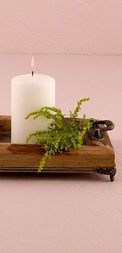 Wooden candle holder tray, rustic home decor idea #affiliate ...