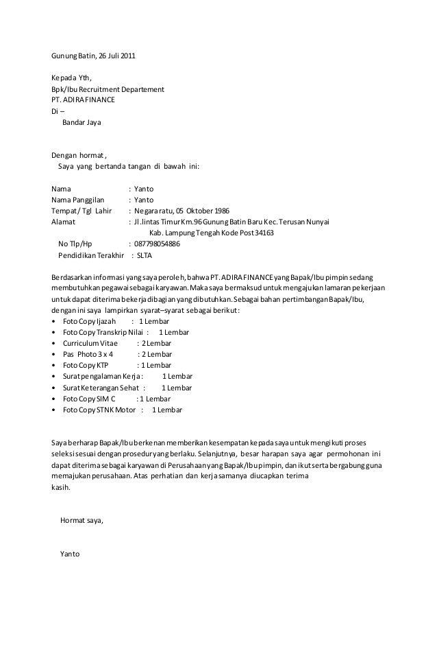 Surat Lamaran Kerja Finance Cv Kreatif Surat Kerja