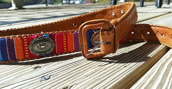 90's Colorful Guatemalan Genuine Leather Belt size 32, Bohemian Belt, Southwestern Belt, Ethnic Belt, Vintage Belt, Festival Belt, SM Belt