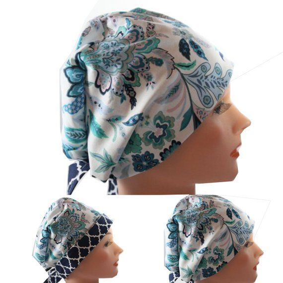 Ponytail Cap Surgical Scrub Hat Butterfly Floral