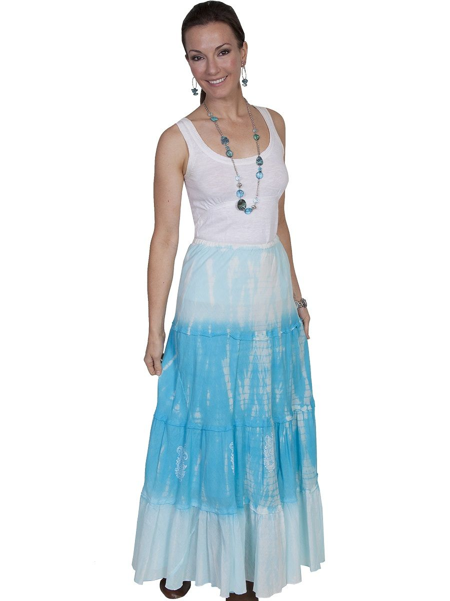 Scully tiedye skirt turquoise at cowgirl blondieus dumb blonde