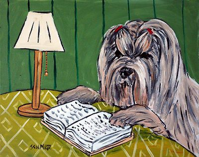 lhasa apso reading library animal Picture dog art Canvas Print schmetz gift