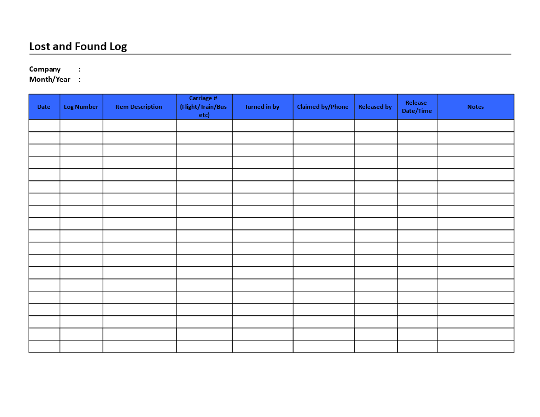 LostAndFoundLogDoc  Lost And Found Log List  Templates