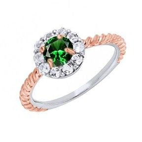 1.49 Ct Round Green Emerald & Topaz 14K Two Tone Gold Over Halo Engagement Ring by JewelryHub on Opensky
