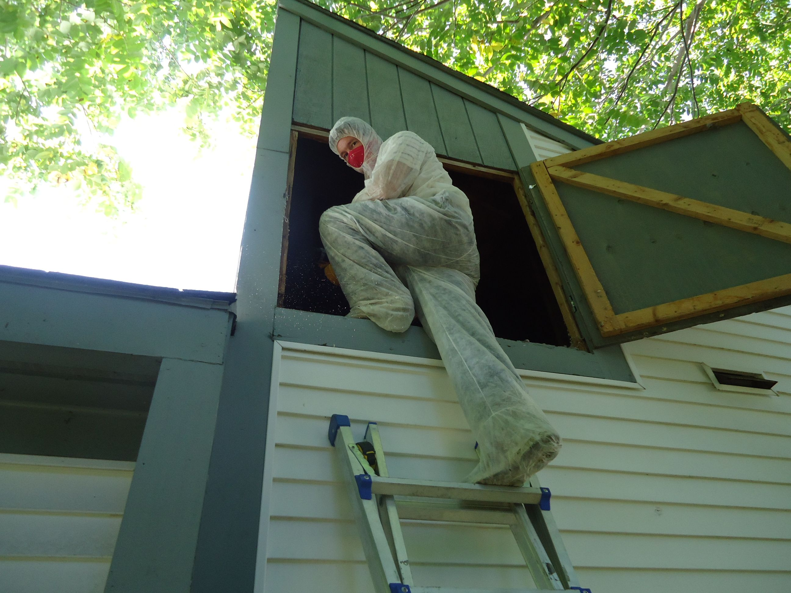crawling through attics is fun but messy. Make sure you are protected! #nerdalert #energyefficiency