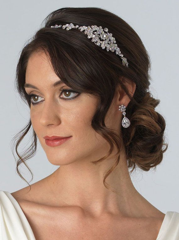Floral Wedding Headband Bridal Side Headband by USABride on Etsy ... 7b3face8608