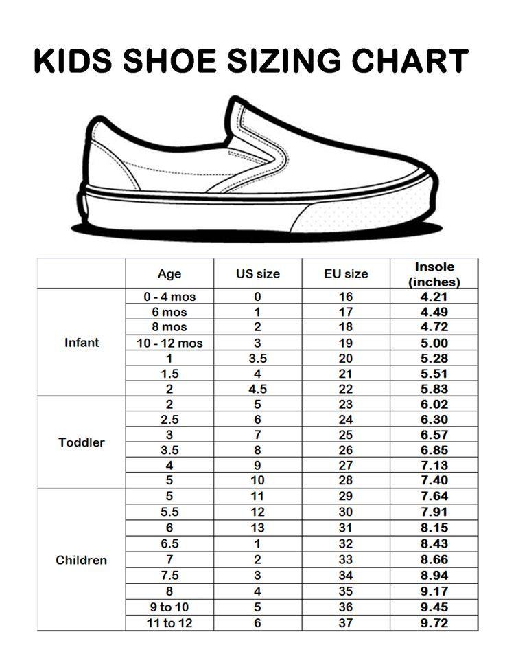 Kids Shoe Size Chart Sizing Chart Kidstuff Shoe Size Chart