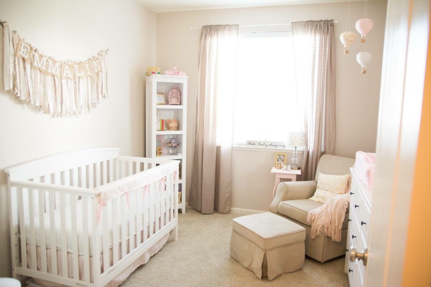 Subtle pink gold and beige baby girl nursery Pink