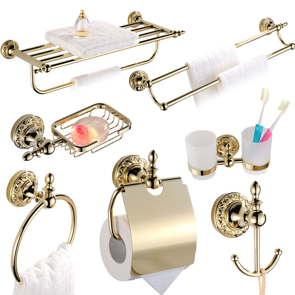 Luxury Solid Brass Ti Pvd Finish Wall Mounted Bathroom Accessories ...