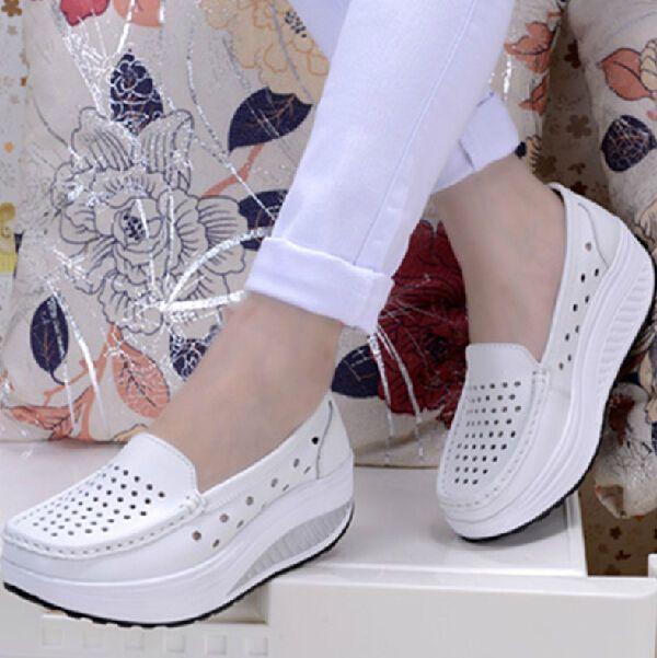 2017 Fashion Womens Girls Platform Wedge Heel Creeper Mesh Nurse Casual  Shoes
