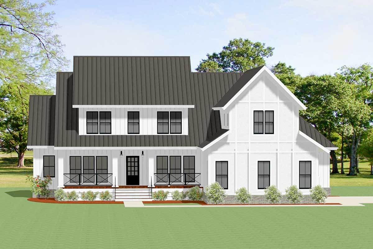Gorgeous 4 bed modern farmhouse plan with loft 46365la 01
