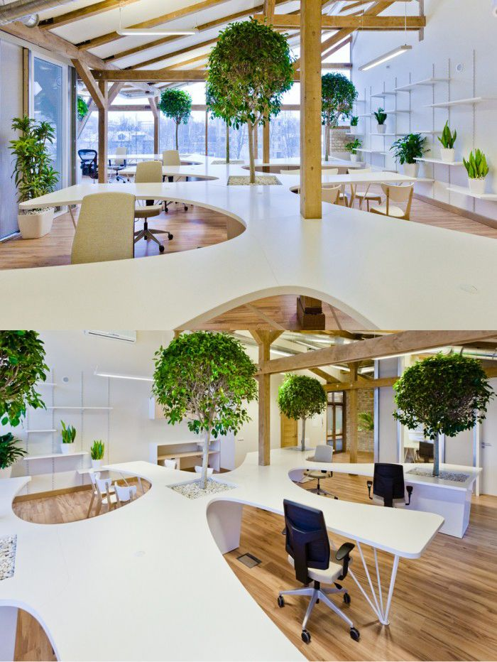 open plan office coordinated with white work surfaces   openplanoffice cubicles com