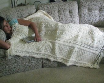 Ecru crocheted Aran Afghan by MarciasYarnworks on Etsy