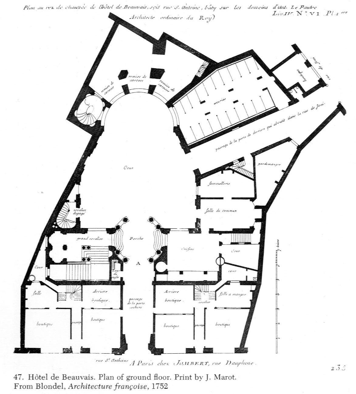 Hotel De Beauvais Paris From Blondel Architecture Française 1752
