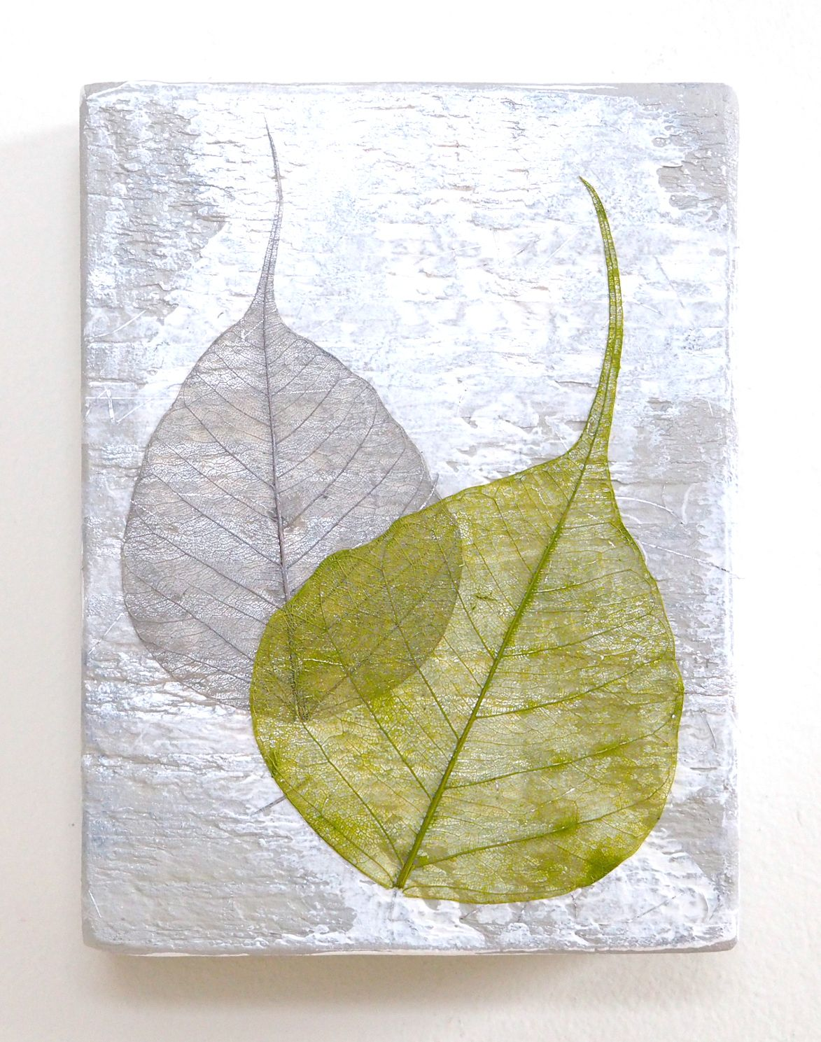 Leaf wall art, small abstract mixed media on reclaimed wood, silver ...