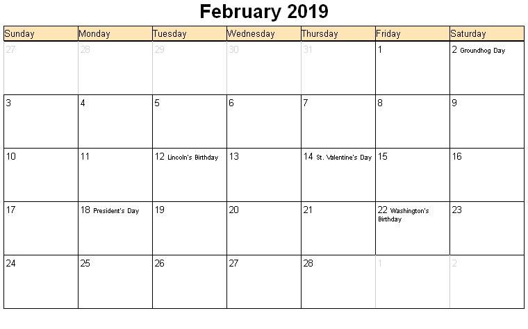 Free February 2020 Printable Calendar Word Pdf With Holidays