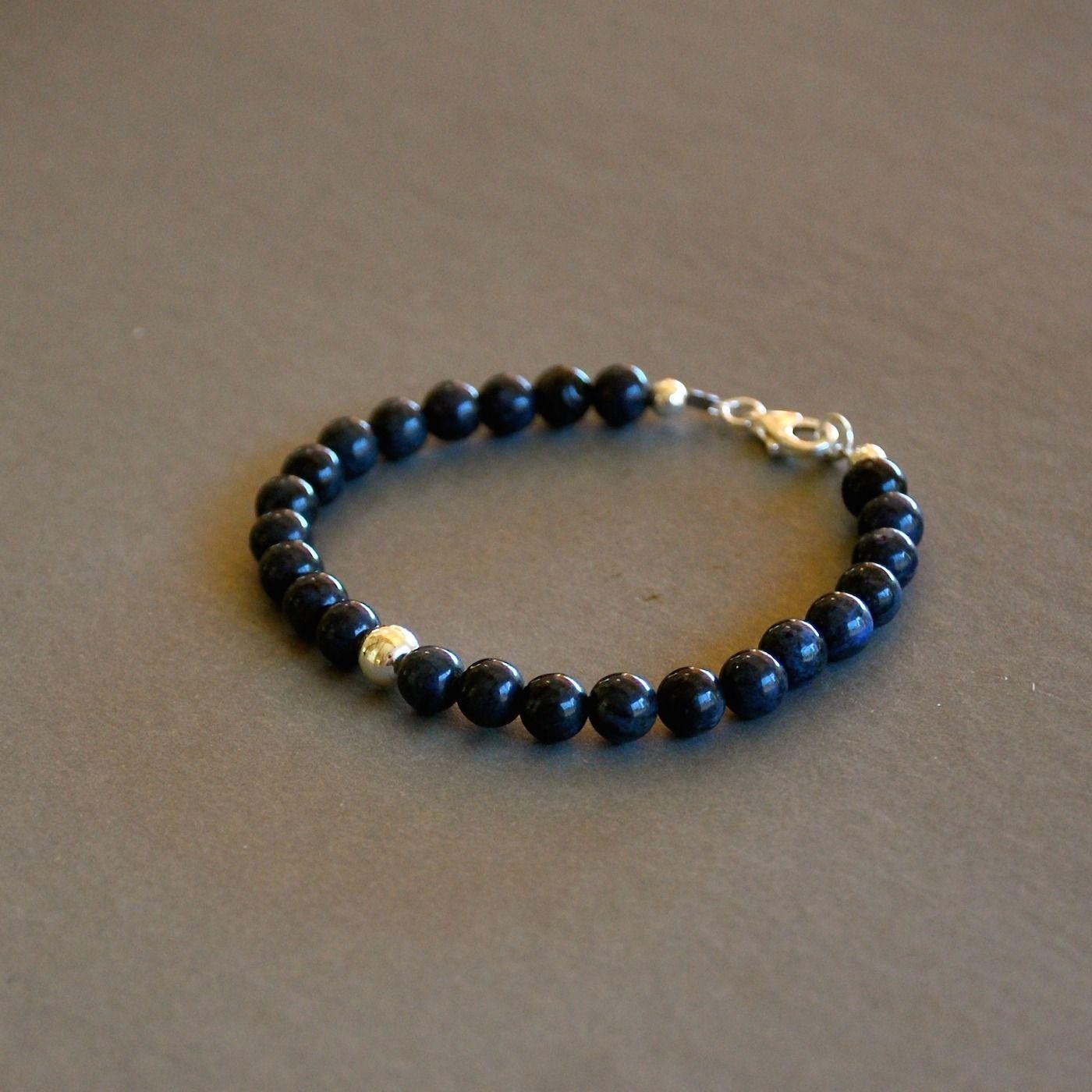 Gut gemocht Bracelet homme pierres jaspes bleus nuit et perles argent 925  KR45