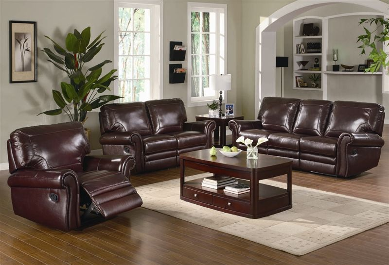 Leather Reclining Sofa And Loveseat Sets Brown Living Room Color