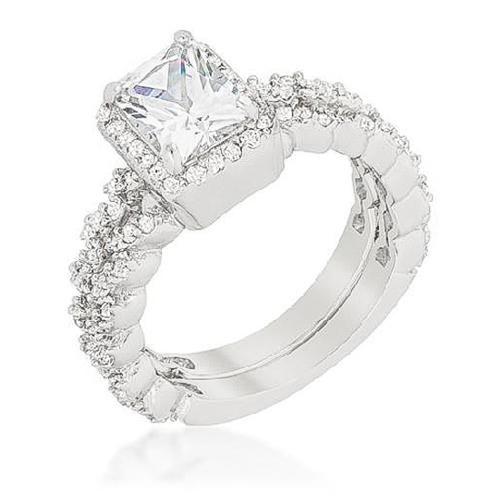 Janette 24ct CZ White Gold Rhodium Bridal Set