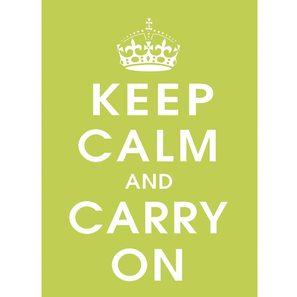 Keep Calm And Carry On Green Poster Printed Roller Blind - Printed ...