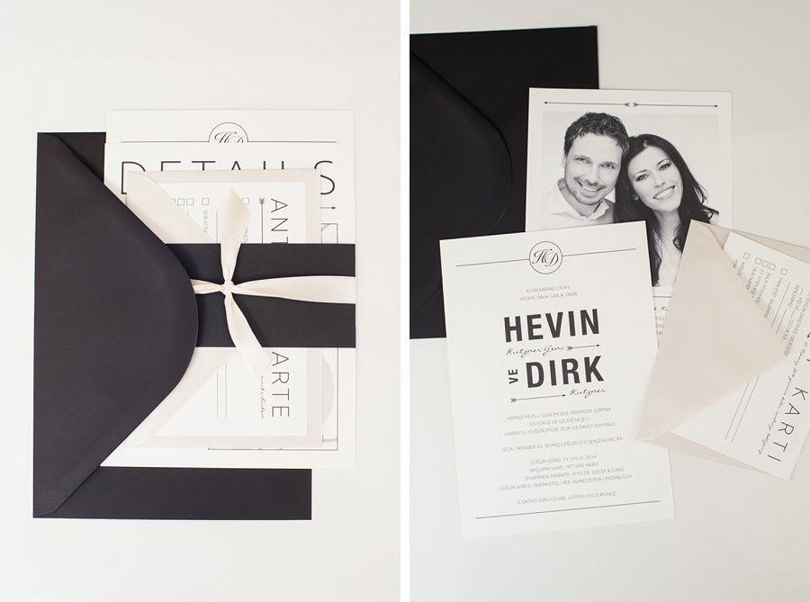 edle hochzeitseinladung in creme und schwarz | hochzeit salzburg, Einladungskarten