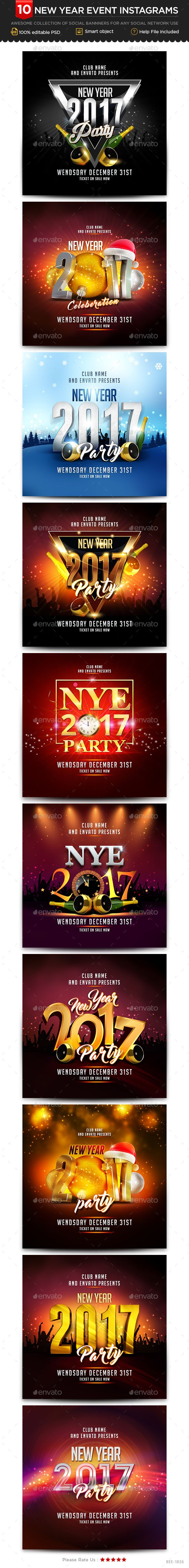 New Year Instagram Templates 10 Designs Images Included Instagram Template Instagram Banner Instagram