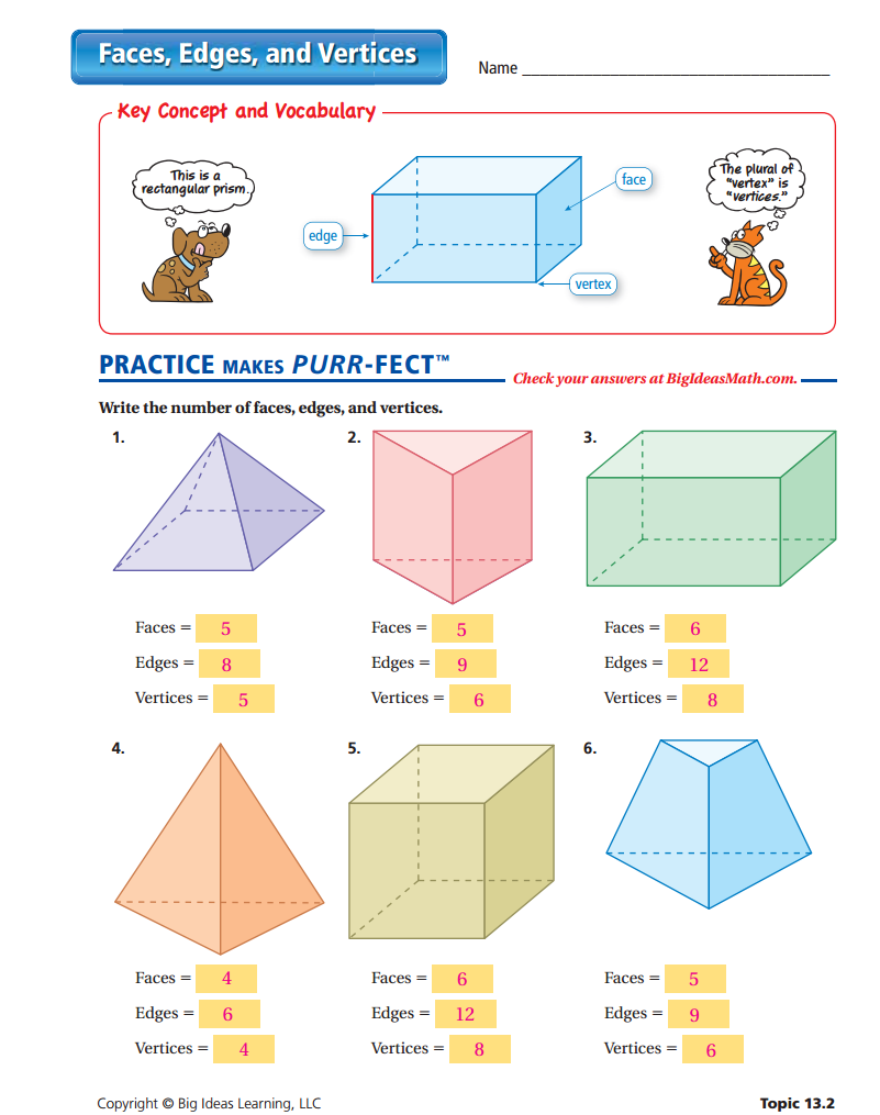 Faces Edges and Vertices Worksheet ANSWERS – Faces Edges Vertices Worksheet