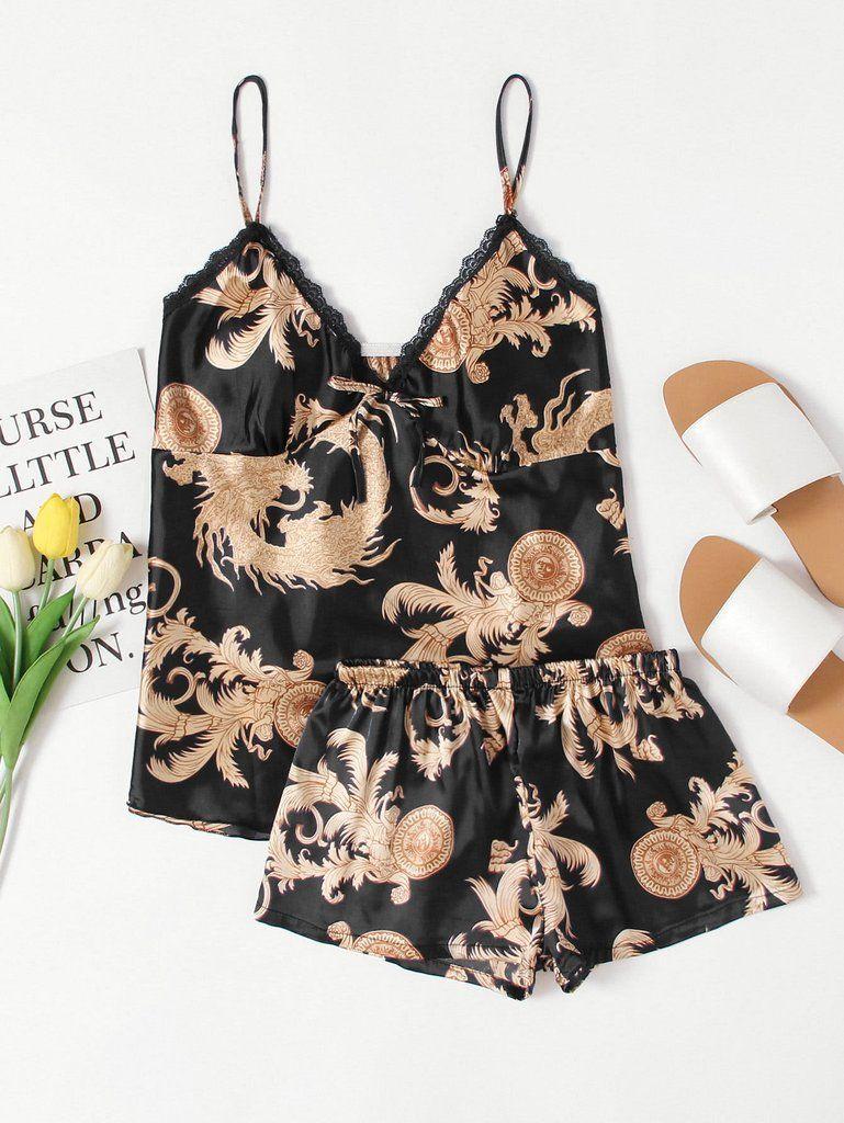 Versace Print Satin Pajama Set | Clothes in 2019 | Satin pajamas