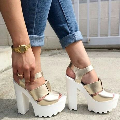 Slayin' Gold Thick Heel Ankle