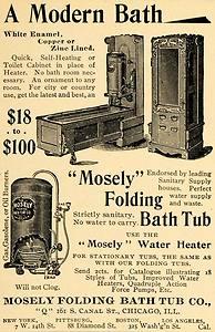 1895 Ad Mosely Folding Bath Tub Company I M A Lil