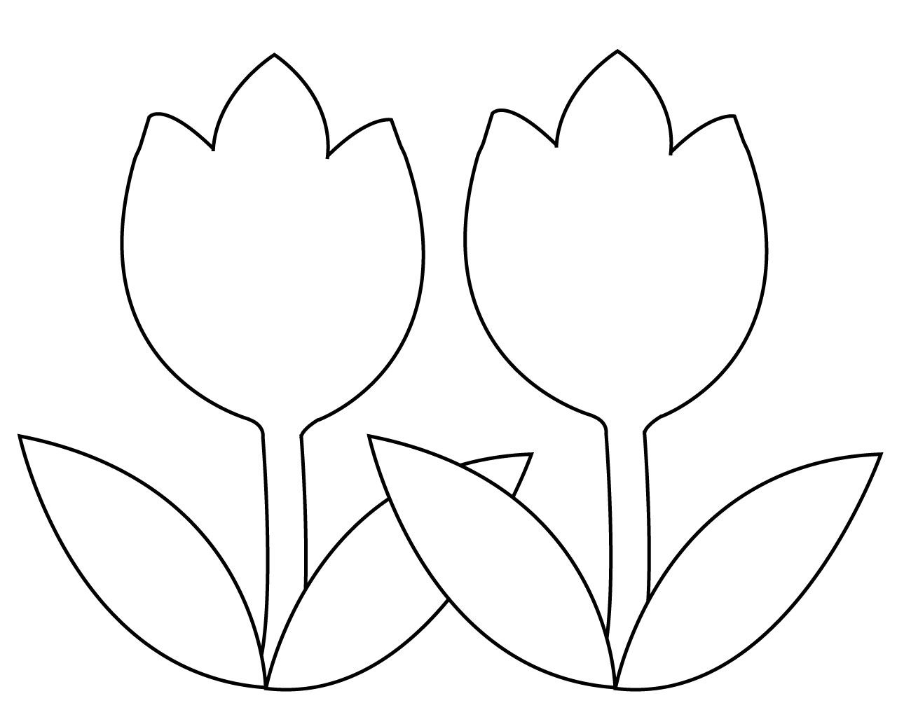 Tulip Simple Flower Coloring Pages Flower Coloring Pages Coloring Pages Simple Flowers