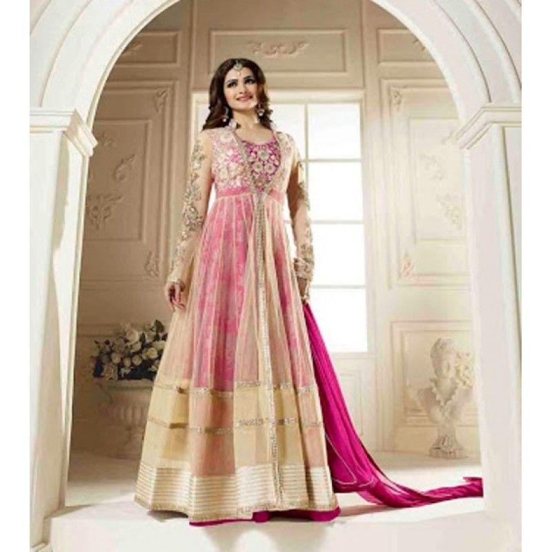 Ethnic Wear Georgette Cream & Pink Anarkali Suit - FFVINAY-1007