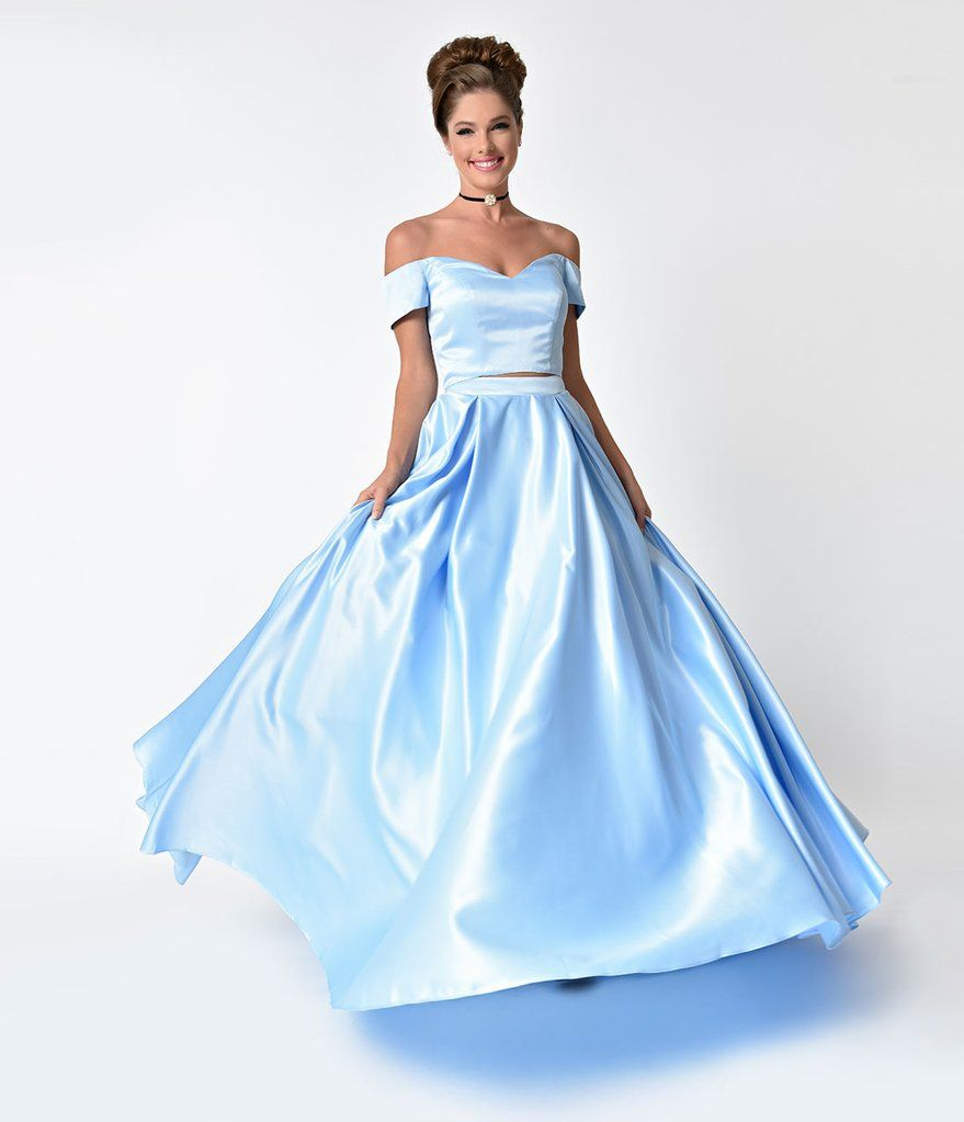 Perry blue off the shoulder two piece satin prom gown prom