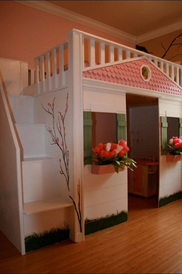 Girls Playhouse bed   do something similar for a boy. That would be easy to turn into a barn      Bedrooms   Pinterest
