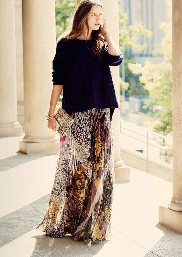 Chunky Knit Sweater and Maxi Skirt STYLE