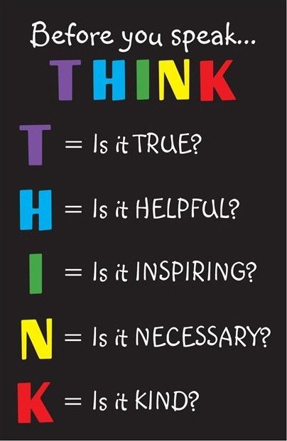Classroom Inspirational Poster. Before You Speak... THINK | Online ...