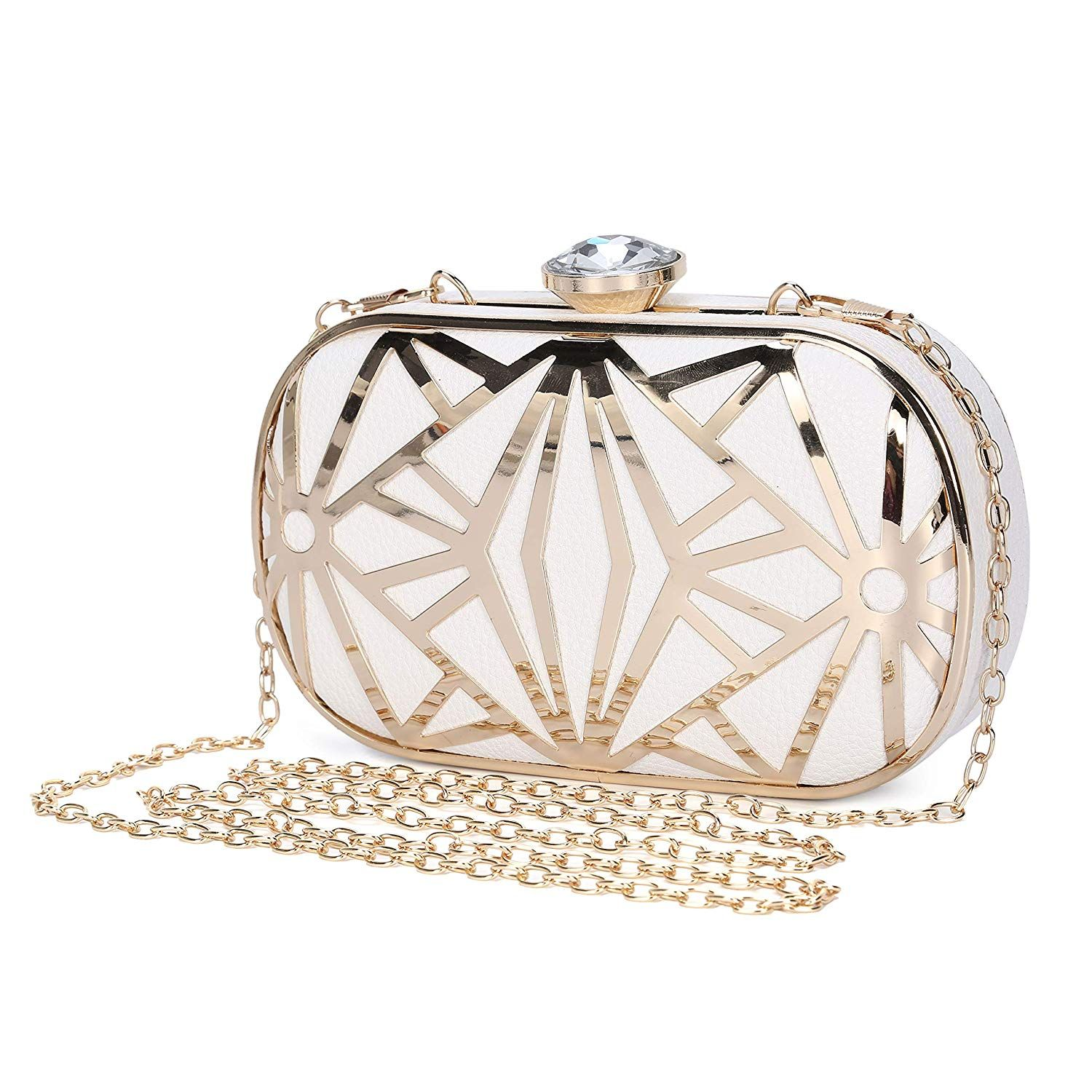 6565218399ee Clocolor Women Evening Bags Exquisite Leather Handbag Metal Hollow Designer  Wedding Party Clutch Purse  Clothing