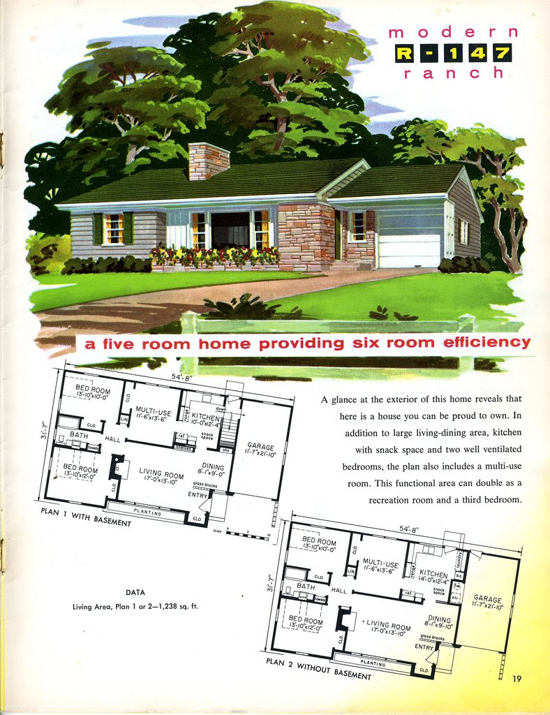 1956 Modern Ranch Ranch House Plans Craftsman Style House Plans House Plans