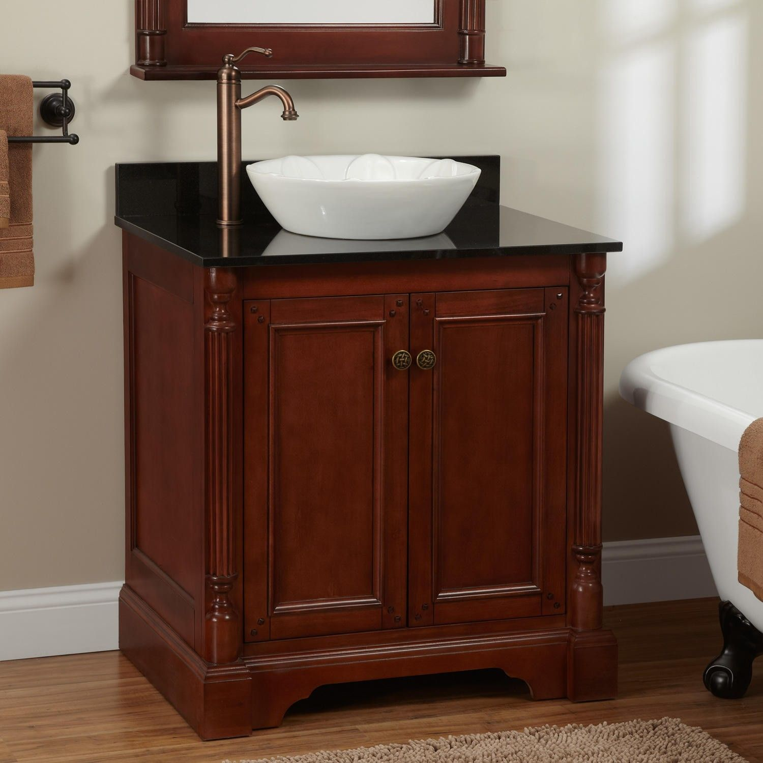 "30"" Trevett Vessel Sink Vanity  Cherry  Vessel Sink Vanity Gorgeous Cherry Bathroom Vanity 2018"