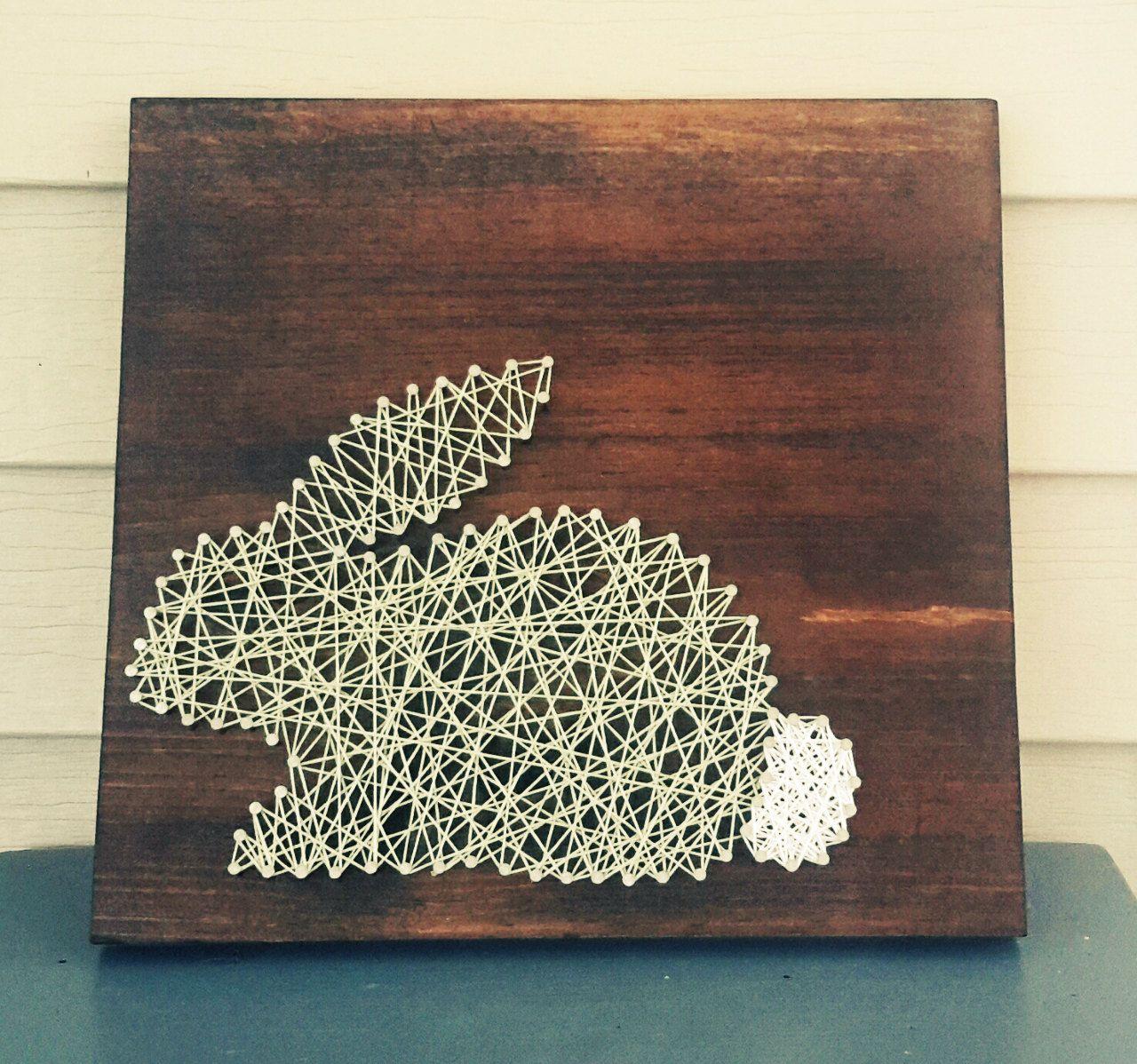 Easter Bunny String Art Wood Sign, Spring Decor, Mint ...